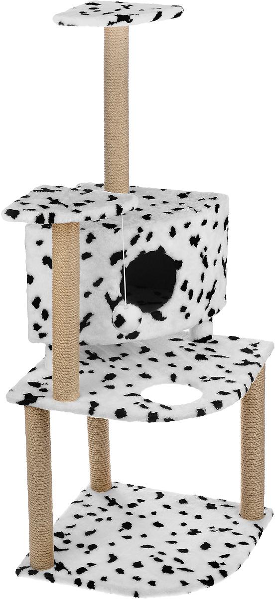 Игровой комплекс для кошек Меридиан, с домиком и когтеточкой, цвет: белый, черный, бежевый, 55 х 53 х 150 смД441 ДИгровой комплекс для кошек Меридиан выполнен из высококачественного ДВП и ДСП и обтянут искусственным мехом. Изделие предназначено для кошек. Комплекс имеет 3 яруса. Ваш домашний питомец будет с удовольствием точить когти о специальные столбики, изготовленные из джута. А отдохнуть он сможет либо на полках, либо в домике. На одной из полок расположена игрушка, которая еще сильнее привлечет внимание питомца. Общий размер: 55 х 53 х 150 см. Размер домика: 42 х 42 х 31 см. Размер полок: 26 х 26 см. Размер нижнего яруса: 55 х 53 см.