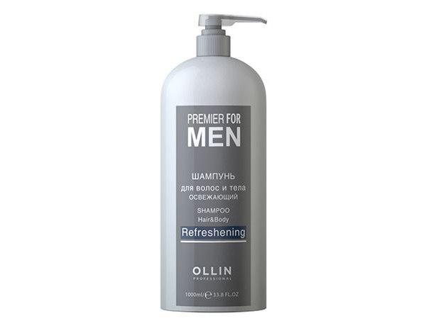 Ollin Шампунь для волос и тела освежающий Premier For Men Shampoo Hair Body Refreshening 1000 мл729759Освежающий шампунь для волос и тела, идеален для ежедневного ухода. Деликатно очищает кожу и волосы, тонизирует, оставляя эффект свежести на весь день.