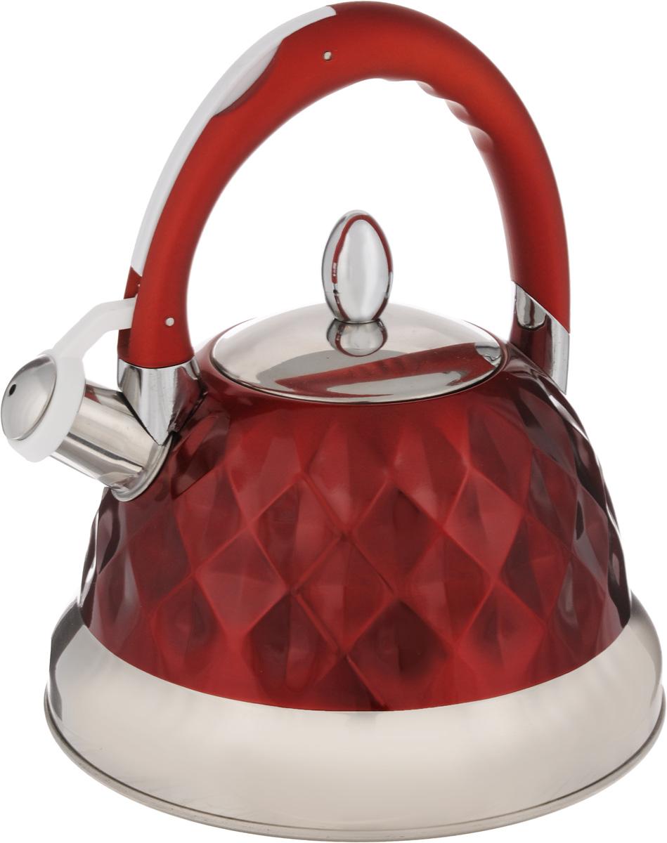 Чайник Mayer & Boch, со свистком, цвет: серебристый, красный, 3,5 л. 24884VT-1520(SR)Корпус чайника Mayer & Boch выполнен из высококачественной нержавеющей стали, что обеспечивает долговечность использования. Фиксированная ручка снабжена механизмом для открывания носика, что делает использование чайника очень удобным и безопасным. Носик снабжен свистком, что позволит вам контролировать процесс подогрева или кипячения воды. Капсулированное дно с прослойкой из алюминия обеспечивает наилучшее распределения тепла. Эстетичный и функциональный, чайник будет оригинально смотреться в любом интерьере. Подходит для газовых, стеклокерамических, галогеновых и электрических плит. Изделие можно мыть в посудомоечной машине. Высота чайника (без учета ручки и крышки): 13 см.Высота чайника (с учетом ручки и крышки): 26 см. Диаметр основания чайника: 22 см. Диаметр чайника (по верхнему краю): 10 см.