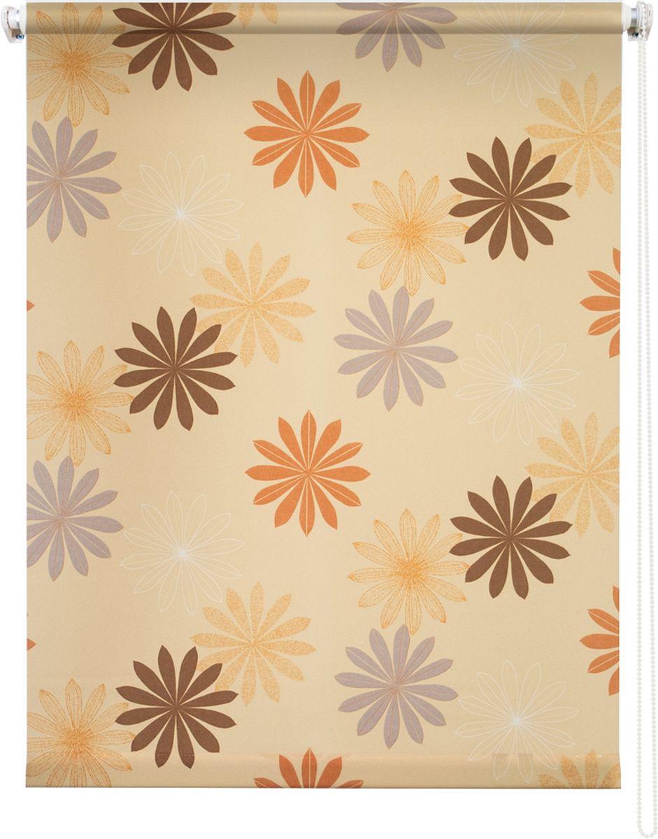 Штора рулонная Уют Космея, цвет: желтый, 120 х 175 см790009Штора рулонная Уют Космея выполнена из прочного полиэстера с обработкой специальным составом, отталкивающим пыль. Ткань не выцветает, обладает отличной цветоустойчивостью и хорошей светонепроницаемостью. Изделие оформлено красочным цветочным узором, отлично подойдет для спальни, кухни, гостиной, а также детской. Штора закрывает не весь оконный проем, а непосредственно само стекло и может фиксироваться в любом положении. Она быстро убирается и надежно защищает от посторонних взглядов. Компактность помогает сэкономить пространство. Универсальная конструкция позволяет крепить штору на раму без сверления, также можно монтировать на стену, потолок, створки, в проем, ниши, на деревянные или пластиковые рамы. В комплект входят регулируемые установочные кронштейны и набор для боковой фиксации шторы. Возможна установка с управлением цепочкой как справа, так и слева. Изделие при желании можно самостоятельно уменьшить. Такая штора станет прекрасным элементом декора окна и гармонично впишется в интерьер любого помещения.