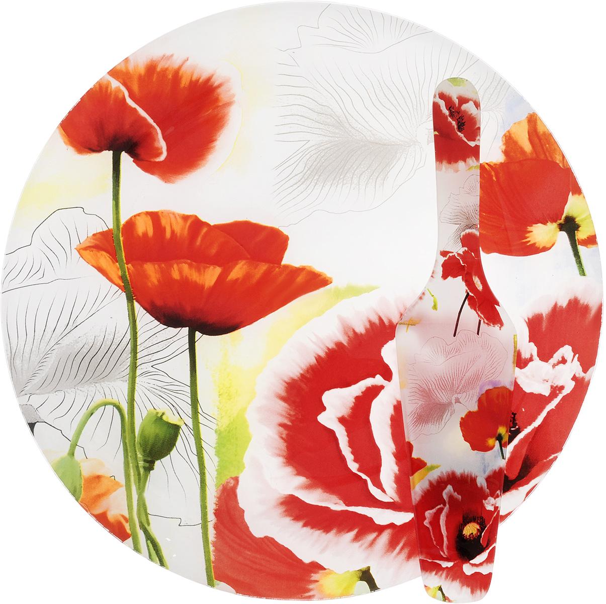 Блюдо для торта Loraine, с лопаткой, диаметр 30 см. 2390123901Блюдо для торта Loraine выполнено из стекла с оригинальным изображением маков. Посуда обладает гладкой непористой поверхностью и не впитывает запахи, ее легко и просто мыть. Изящный дизайн и красочность оформления придутся по вкусу и ценителям классики, и тем, кто предпочитает утонченность и изысканность. В комплекте также предусмотрена лопатка. Такой набор послужит отличным подарком к любому празднику, а также добавит элегантности любому праздничному столу. Размер лопатки: 26 х 6 х 3 см.