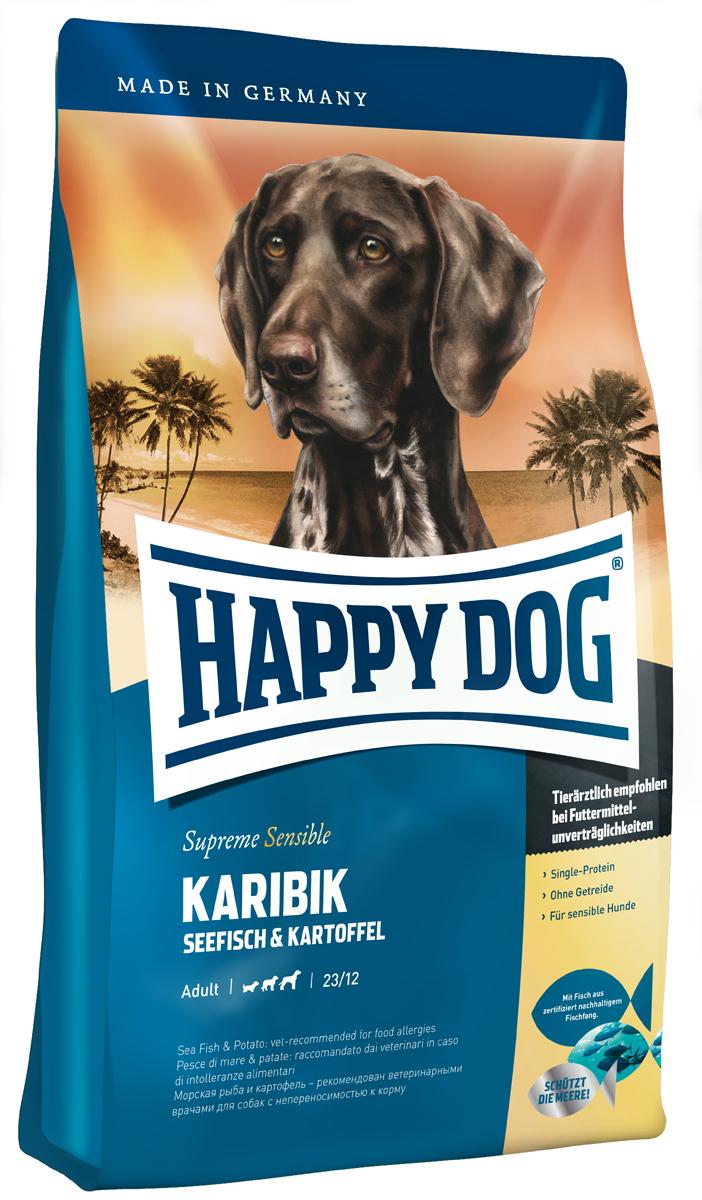 Корм сухой Happy Dog Карибик для взрослых собак, с морской рыбой, 12,5 кг0120710Happy Dog Карибик - это лакомство для гурманов, не содержащее злаков и изготовленное из эксклюзивного сырья с опорой на изысканные рецепты карибской кухни. Вашу собаку порадует благородная морская рыба, полученная из экологичного промысла, и легко усваиваемый картофель. Разумеется, этот щадящий корм не содержит глютена. Благодаря особому, уникальному источнику белка - морской рыбе, содержащей умеренное количество белков и калорий, – эта вкусная рецептура не создает нагрузки на пищеварение и прекрасно переносится собаками всех пород, даже чувствительными к корму. Тропическое лакомство дополняют ценные Омега-3 и Омега-6 жирные кислоты, которые гарантируют здоровую кожу и блестящую шерсть.Состав: картофельные хлопья (48%), морская рыба (18%), картофель, масло из семян подсолнечника, свекольная пульпа, гидролизат печени, рапсовое масло, яблочная пульпа (0,8%), морская соль, дрожжи (экстрагированные), юкка шидигера.Аналитический состав: сырой протеин 23%, сырой жир 12%, сырая клетчатка 3%, сырая зола 7%, кальций 1,4%, фосфор 1%, натрий 0,35%, Омега-6 жирные кислоты 2,8%, Омега-3 жирные кислоты 0,35%.Витамины/кг: витамин А 12000 М.E., витамин D3 1200 М.E., витамин Е 75 мг, витамин В1 4 мг, витамин В2 6 мг, витамин В6 4 мг, биотин 575 мкг, кальций D-пантотенат 10 мг, ниацин 40 мг, витамин В12 70 мкг, холинхлорид. Микроэлементы/кг: железо 60 мг, медь 105 мг, цинк 12 мг, марганец 125 мг, йод 25 мг, селен 2 мг.Товар сертифицирован.