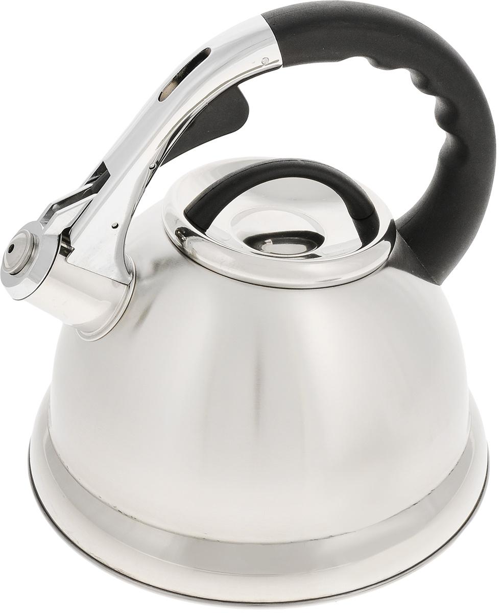 Чайник Mayer & Boch, со свистком, 2,7 л. 2020920209Чайник Mayer & Boch выполнен из высококачественной нержавеющей стали, которая не окисляется и не впитывает запахи, напитки всегда будут ароматны. Фиксированная ручка, изготовленная из пластика и цинка, снабжена клавишей для открывания носика, что делает использование чайника очень удобным и безопасным. Носик снабжен свистком, что позволит вам контролировать процесс подогрева или кипячения воды. Эстетичный и функциональный чайник будет оригинально смотреться в любом интерьере. Подходит для всех типов плит, кроме индукционных. Можно мыть в посудомоечной машине. Диаметр чайника (по верхнему краю): 10 см. Высота чайника (без учета крышки и ручки): 13 см. Высота чайника (с учетом ручки): 23 см.