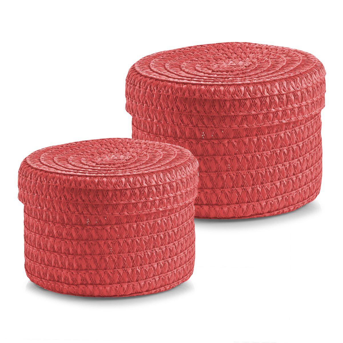 Набор корзин Zeller с крышками, цвет: коралловый, 2 шт14021Набор Zeller состоит из двух корзин разного размера. Корзинки изготовлены из текстиля и оснащены крышками. Изделия идеально подходят для упаковки подарков, цветочных композиций и подарочных наборов, для хранения различных вещей и аксессуаров. Так же они являются прекрасным декоративным элементом интерьера. Такие корзины будут создавать уют и комфорт в вашем доме и станут отличным подарком. Диаметр корзин: 16 см, 17 см. Высота корзин: 10 см, 12 см.