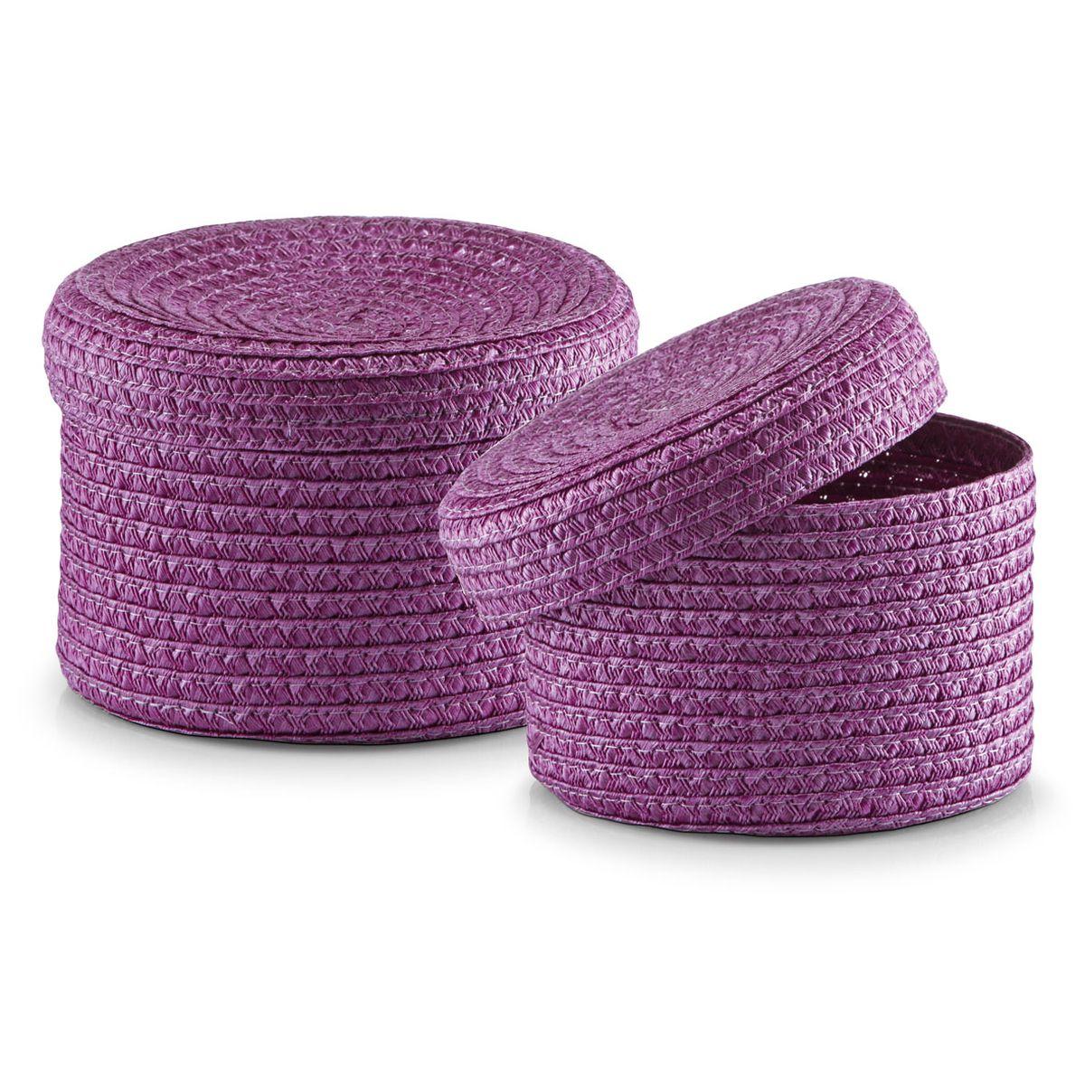 Набор корзин Zeller с крышками, цвет: фиолетовый, 2 шт14121Набор Zeller состоит из двух корзин разного размера. Корзинки изготовлены из текстиля и оснащены крышками. Изделия идеально подходят для упаковки подарков, цветочных композиций и подарочных наборов, для хранения различных вещей и аксессуаров. Так же они являются прекрасным декоративным элементом интерьера. Такие корзины будут создавать уют и комфорт в вашем доме и станут отличным подарком. Диаметр корзин: 16 см, 17 см. Высота корзин: 10 см, 12 см.