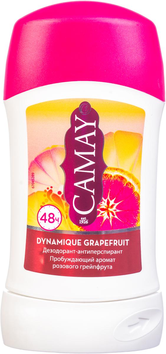 CAMAY Дезодорант-антиперспирант стик Динамик 40мл053082101Благодаря особенной технологии твердого дезодоранта-антиперспиранта Camay Dynamique Grapefruit аромат идеального сочетания розового грейпфрута и белых цветов не покинет вас надолго и подарит вам необходимую защиту в течение 48 часов.