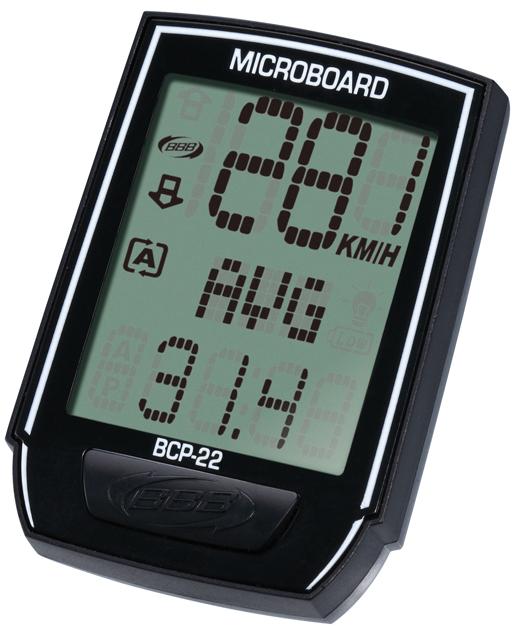 Компьютер BBB MicroBoard 13 functions wired black. BCP-22BCP-2213 Функций: Текущая скорость Средняя скорость Поездка расстояние Устанавливается метр ОДО Часы Индикатор разрядки батареи Автоматическое сканирование Автоматический запуск / остановка Максимальная скорость Езда время Общее время езды Скорость иноходца Подсветка