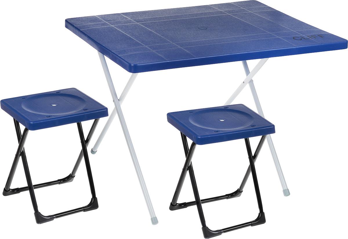 Набор мебели Wildman Симпл Сет, 3 предмета81-562Набор складной мебели Wildman Симпл Сет - это идеальное решение для оформления веранды вашего загородного дома или обустройства уголка для отдыха в тени деревьев в саду. Он включает в себя стол и 2 табурета. Каркас мебели выполнен из прочного металла. Столешница и сидения изготовлены из пластика. Ножки стола оснащены резиновыми накладками, благодаря чему он не царапает пол и не сокльзит. Табуреты складываются внутрь стола, что существенно экономит место при транспортировке. Размер столешницы: 80 х 60 см. Высота стола: 50 см. Размер сидячего места: 27 х 24,5 см. Высота табуретов: 38 см.