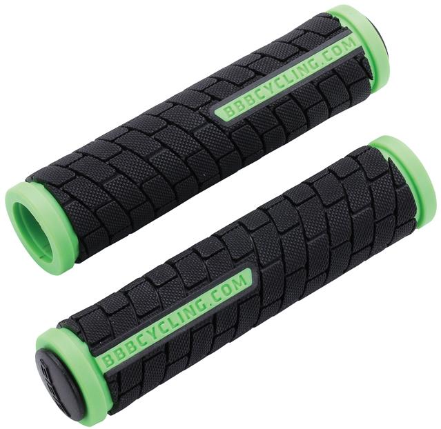 Грипсы BBB DualGrip, цвет: черный, светло-зеленый, 12,5 см, 2 шт. BHG-06JSO-10304Грипсы BBB DualGrip выполнены из мягкой двухкомпонентной резины. Рельефная текстура обеспечивает отличное сцепление. Грипсы предназначены для более удобного управления велосипедом.Две заглушки для руля в комплекте.Длина грипс: 12,5 см.