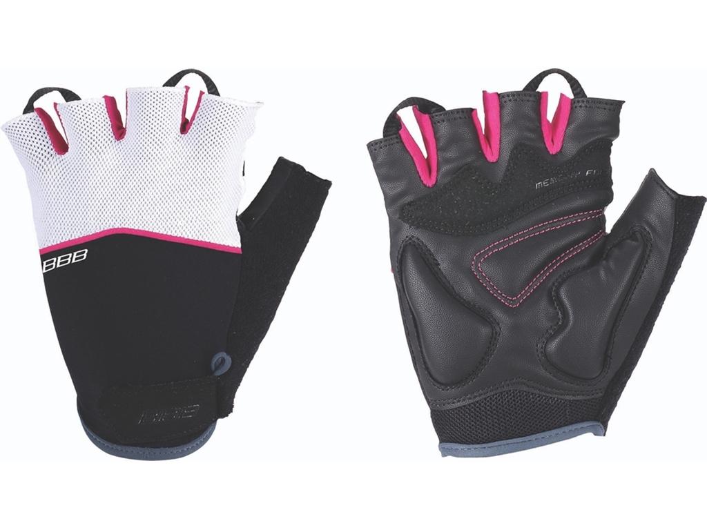 Перчатки велосипедные BBB Omnium, цвет: черный, пурпурно-белый. BBW-47. Размер SBBW-47Скроены с учетом особенностей строения женских рук. Стильные перчатки с эластичной тыльной стороной из лайкры и сетчатого материала. Комфортная ладонь из материала clarino и вставкой из материала с эффектом памяти. Вставка для удаления влаги/пота. Застежки велькро (Система WristLock).