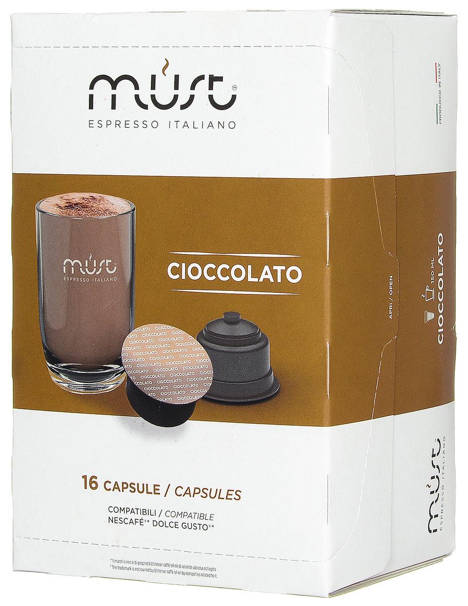 MUST DG Cioccolato какао капсульный, 16 шт8056370761371MUST DG Cioccolato - великолепный тонизирующий какао-напиток с неповторимым шоколадным вкусом. Стандарт капсул - Dolce Gusto. Уважаемые клиенты! Обращаем ваше внимание на то, что упаковка может иметь несколько видов дизайна. Поставка осуществляется в зависимости от наличия на складе.