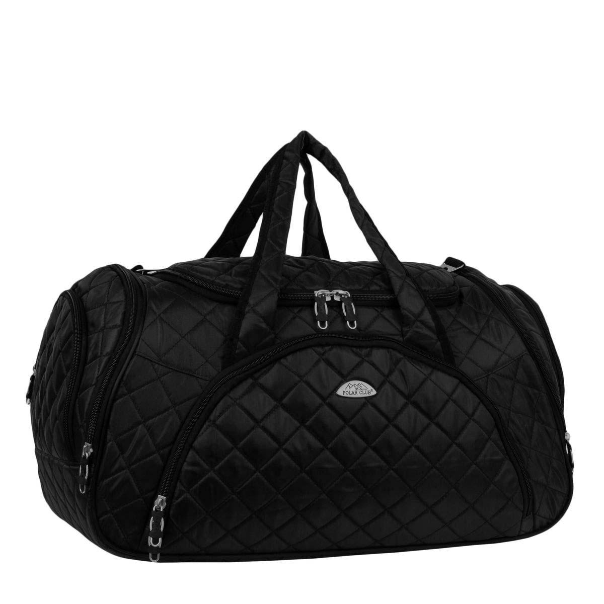 Сумка дорожная Polar, 35 л, цвет: черный. 70697069Вместительная и удобная дорожная сумка Polar . Основное отделение закрывается на молнию. Один из боковых карманов предназначен для обуви, мокрых вещей. Дополнительно снаружи большой карман на молнии спереди сумки и небольшие карманы по бокам. Сумка имеет мягкую конструкцию. В комплекте регулируемый съемный плечевой ремень.
