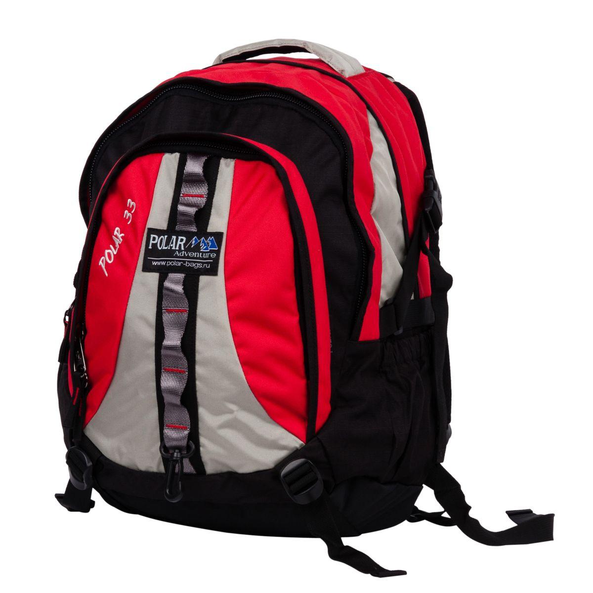 Рюкзак городской Polar, 27 л, цвет: красный. П1002-01BP-001 BKНебольшой, вместительный рюкзак фирмы Polar. Полностью вентилируемая спинка с системой Aircomfort, мягкие плечевые лямки создают дополнительный комфорт при ношении. Центральный отсек для персональных вещей и внутренним карманом для папки А4. Маленький карман для mp3, CD плеера. Выход под наушники. Большой передний карман с органайзером. Так же есть грудные стяжки, фиксирующие его удобное положение. Боковой карман из трикотажной сетки для бутылки с водой. Дождевик специальной формы на рюкзак, защищает его от намокания в дождливую погоду.