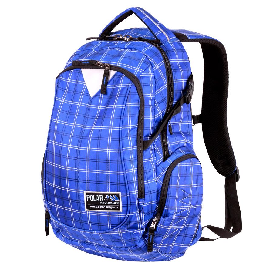Рюкзак городской Polar, 27,5 л, цвет: синий. П1572-10859425-002Стильный городской рюкзак Polar. Удобная мягкая спинка, мягкие плечевые лямки создают дополнительный комфорт при ношении. Центральный отсек для персональных вещей с карманом под папку А4. Большой передний карман с органайзером. Грудные стяжки, фиксирующие его удобное положение и специальные боковые стяжки для регулирования объема. Также по бокам расположены карманы на молнии.