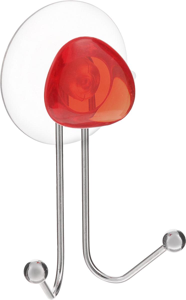 Крючок двойной Axentia Amica, на присоске, цвет: хром, красный, высота 10 см282030Крючок двойной Axentia Amica изготовлен из хромированной стали и украшен пластиковой вставкой. Крючок крепится к поверхности при помощи присоски. Для надежности крепления присоску необходимо устанавливать на гладкой, воздухонепроницаемой, очищенной и обезжиренной поверхности. Такой крючок прекрасно впишется в интерьер ванной комнаты и поможет эффективно организовать пространство.