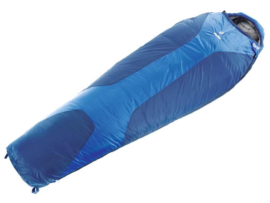 Спальник Deuter Orbit +5, цвет: темно-синий, стальной, правосторонняя молния37400_33100Спальный мешок Deuter Orbit +5° - это легкий попутчик для летнего сезона. Имеет утепляющие вставки Body Wormer из флиса в области рук, почек и ступней. Может использоваться как одеяло. Капюшон с двумя стяжными шнурами, накладка вдоль молнии, двусторонняя молния YKK позволяет со стегивать вместе два спальника, компрессионный упаковочный мешок. Конструкция однослойная.