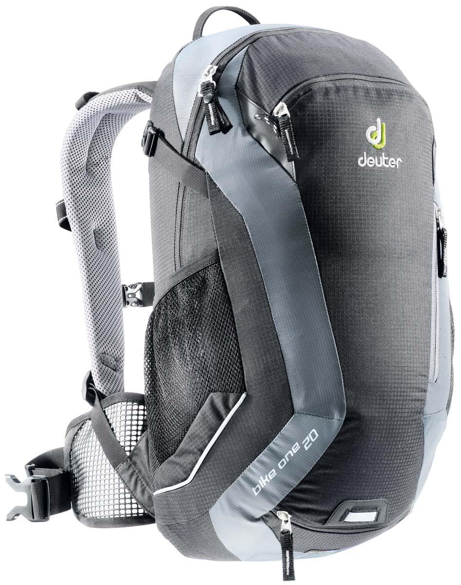 Рюкзак спортивный Deuter Bike One 20, цвет: черный, темно-серый, 20 л32082_7490Классический рюкзак идеально подходит для людей, предпочитающих вело-прогулки. Особенности Deuter Bike One 20: съёмный держатель для шлема компрессионые ремни наружние карманы два внутренних кармана боковые сетчатые карманы карман для влажной одежды отражатели 3M фиксаторы для питьевой системы набедренный пояс с сетчатыми крыльями анатомические плечевые лямки петля для крепления ночного габаритного фонарика Safety Blink чехол от дождя Размеры: 50 x 26 x 20 см