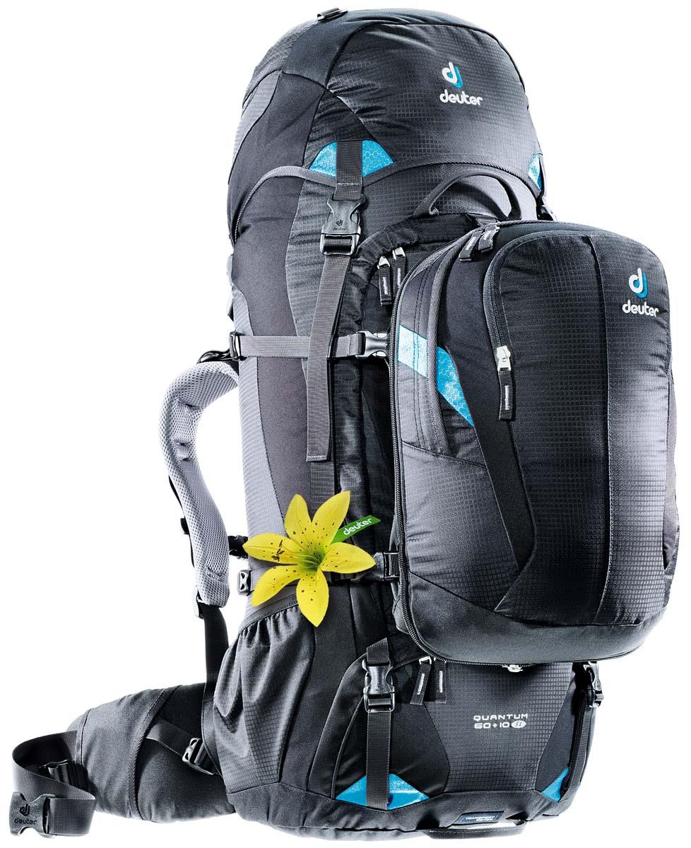 Рюкзак Deuter Travel Quantum 60+10 SL, цвет: черный, бирюзовый, 70л3510315_7321Путешественники ценят высокое качество и практичную узкую форму дорожной сумки-рюкзака Quantum. С этой сумкой Вы не застрянете в дверях автобусов или в проходах в поезде, даже если она полностью загружена. Эти вместительные попутчики сочетают в себе функциональность, современный дизайн и практичный съемный городской рюкзак. Вариант SL, адаптирован к потребностям женщин – путешественниц. система подвески Vari-Quick несущий алюминиевый каркас и анотомический набедренный пояс создают комфорт при переноске тяжелых грузов, двойной доступ в центральное отделение: как обычно, сверху или через вход с u-образной молнией спереди, съемный маленький рюкзак можно быстро пристегнуть или снять; он оснащен карманами EXP со складками на молнии для увеличения объема,отделение в верхнем клапане, изолированное нижнее отделение, боковые сетчатые карманы,боковые компрессионные ремни,три ручки для переноски встроенный защитный чехол для транспортировки с именной биркой, может также служить чехлом от дождя