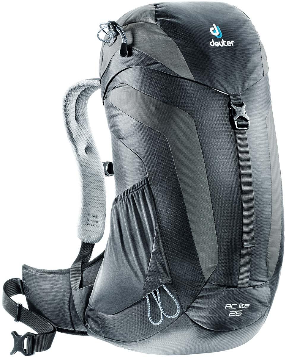 Рюкзак Deuter AC Lite 26, цвет: черный, темно-серый, 26 л3420316_7410Компактный, спортивный рюкзак идеально подходит для людей, предпочитающих пешие прогулки. Система подвески AirComfort с великолепной вентиляцией и легкие материалы в конструкции делают рюкзак настолько удобными, что вы забудете, что у вас за спиной рюкзак. Особенности: - система Aircomfort Advanced - анатомические мягкие плечевые лямки обшитые сетчатой тканью 3D AirMesh - карман в верхнем клапане - карман для мелких вещей на молнии - удобная застёжка с одной пряжкой - отражатель 3M - петли для телескопических палок - боковые сетчатые карманы - совместимость с системой снабжение питьевой водой - встроенные съёмный чехол от дождя Плечевые лямки имеют анатомическую форму, подбиты мягкой подкладкой. Прочный упругий стальной каркас обеспечивает гибкость и легкость конструкции, а также натягивает вентиляционную сетку. Прочная сетка Aircomfort обеспечивает удобство и вентиляцию высшего класса: нагретый телом...
