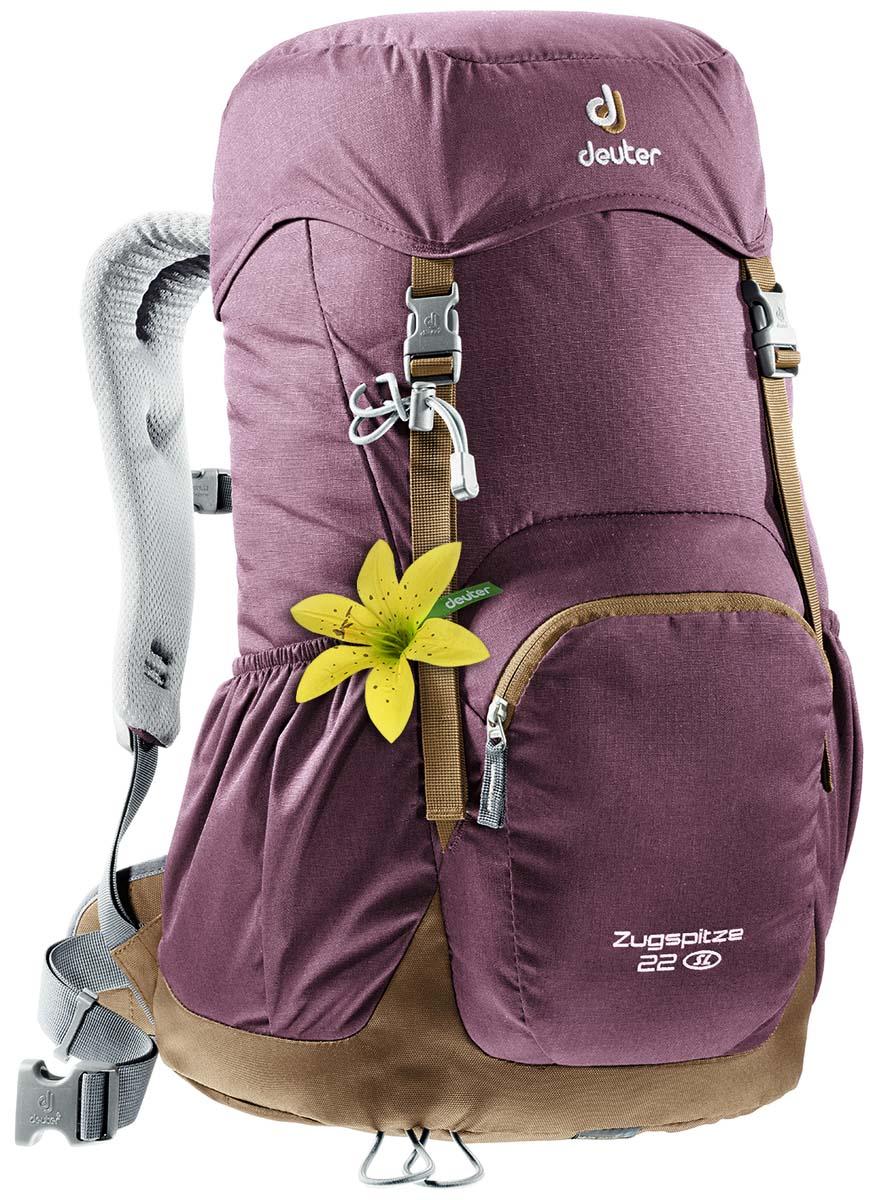 Рюкзак Deuter Zugspitze 22 SL, цвет: фиолетовый, темно-зеленый, 22л3430016_5607Классический рюкзак. Эту модель Deuter выпускает с 1984 года, каждый год внося в конструкцию усовершенствования, используя современные материалы. набедренный пояс с вентилируемой подкладкой, анатомические плечевые лямки с мягкими краями две застежки на клапане, под клапаном можно надежно уложить дополнительное снаряжение, карман в верхнем клапане,два боковых сетчатых кармана и передний карман, петли для телескопических палок, встроенный съемный чехол от дождя