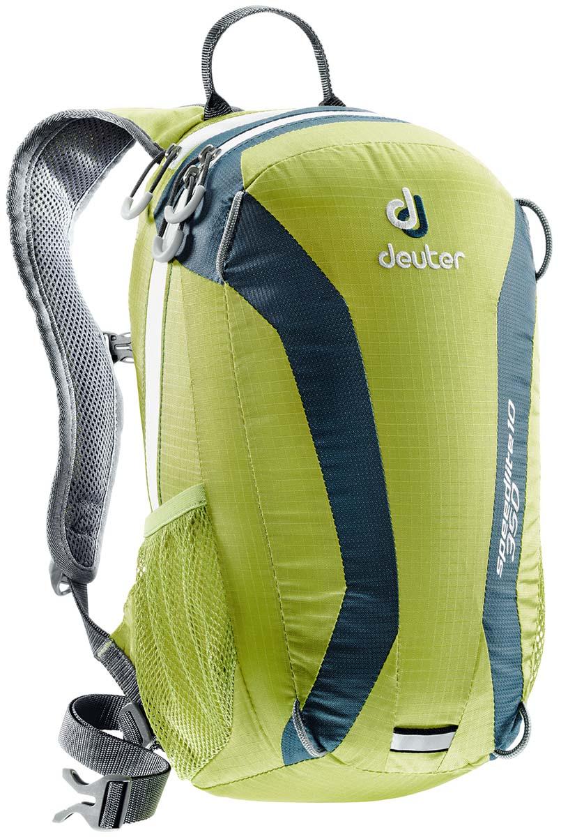 Рюкзак Deuter Speed lite 10, цвет: светло-зеленый, темно-голубой, 10л33101_2314Сверхлегкие спортивные рюкзаки для быстроногих атлетов. Вы почти не почувствуете их вес во время гонок по горам, соревнований по ски,туру, велосипедных марафонов, катаясь на равнинных лыжах, и даже просто догоняя уходящий автобус, эргономичные плечевые лямки целиком выполнены из объемной дышащей сетки 3D Air,Mesh для экономии веса, Оригинальная V,образная форма обеспечивает максимальную свободу движений и размещает нагрузку именно там, где она должна быть, между плеч , Молнии с удобными петлями для пальцев на замках, передний карман, усиленное дно, отражатель 3М, боковые сетчатые карманы позволяют легко достать калорийное питание или флягу с питьем, Вес: 380 г, Объем 15 л. Размеры: 43x23x16 см.