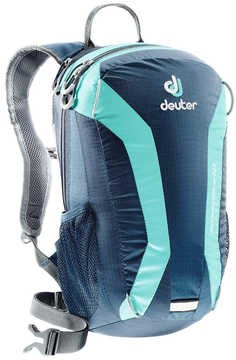 Рюкзак Deuter Speed lite 10, цвет: светло-голубой, бирюзово-голубой, 10л33101_3218Сверхлегкие спортивные рюкзаки для быстроногих атлетов. Вы почти не почувствуете их вес во время гонок по горам, соревнований по ски,туру, велосипедных марафонов, катаясь на равнинных лыжах, и даже просто догоняя уходящий автобус, эргономичные плечевые лямки целиком выполнены из объемной дышащей сетки 3D Air,Mesh для экономии веса, Оригинальная V,образная форма обеспечивает максимальную свободу движений и размещает нагрузку именно там, где она должна быть, между плеч , Молнии с удобными петлями для пальцев на замках, передний карман, усиленное дно, отражатель 3М, боковые сетчатые карманы позволяют легко достать калорийное питание или флягу с питьем, Вес: 380 г, Объем 15 л. Размеры: 43x23x16 см.