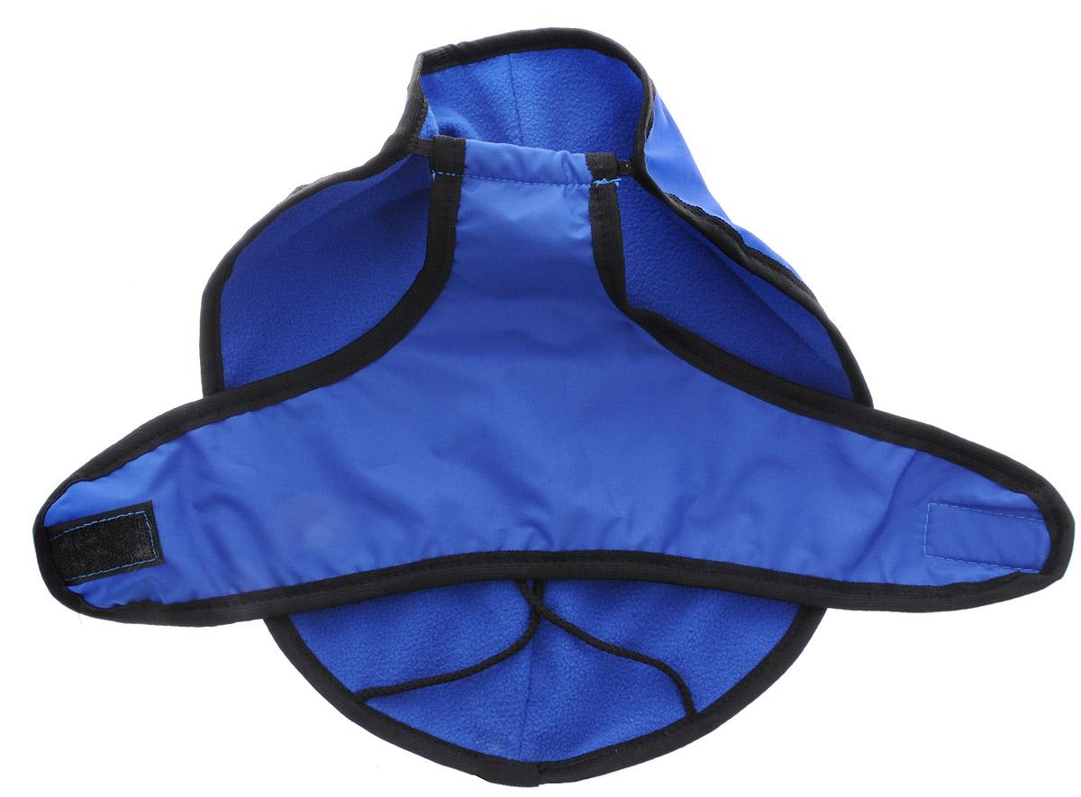 Попона для собак ЗооМарк, цвет: синий, черный кант. Размер: 10120710Попона для собак ЗооМарк отлично подойдет для прогулок в прохладное время года.Попона изготовлена из оксфорда, защищающего от ветра и осадков, а на подкладке используется флис, который отлично сохраняет тепло и обеспечивает воздухообмен. Попона оснащена веревочками-прорезями для ног и застегивается на липучку. Ворот оснащен резинкой, благодаря чему ее легко надевать и снимать.Благодаря такой попоне питомцу будет тепло и комфортно в любое время года.