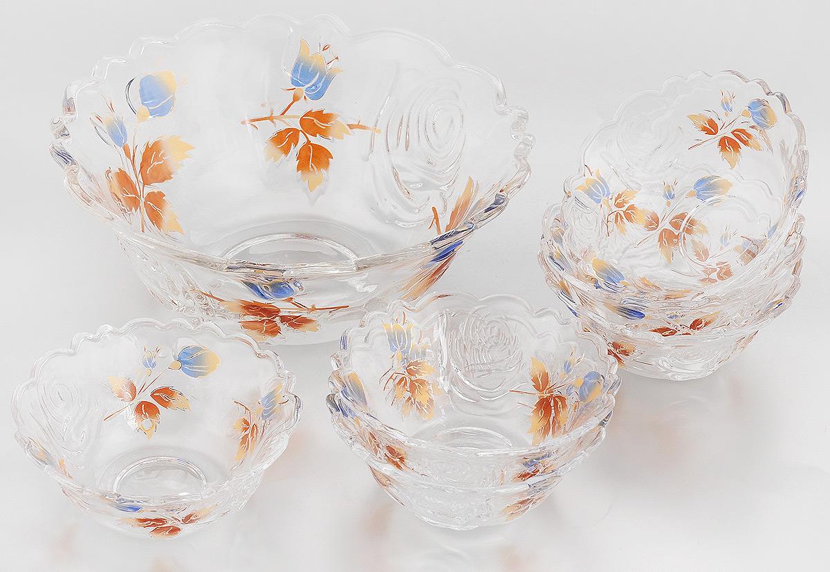 Набор салатников Loraine, 7 предметов. 2275922759Набор Loraine состоит из 7 салатников (1 салатник большой и 6 малых). Изделия, изготовленные из высококачественного стекла, сочетают в себе изысканный дизайн с максимальной функциональностью. Они идеально подходят для сервировки стола, а также подачи закусок, солений и других блюд. Такие салатники прекрасно впишутся в интерьер вашей кухни и станут достойным дополнением к кухонному инвентарю. Нельзя мыть в посудомоечной машине и использовать на открытом огне. Подходят для хранения в холодильнике. Диаметр большого салатника (по верхнему краю): 23 см. Высота большого салатника: 9,5 см. Диаметр малого салатника (по верхнему краю): 12 см. Высота малого салатника: 5 см.