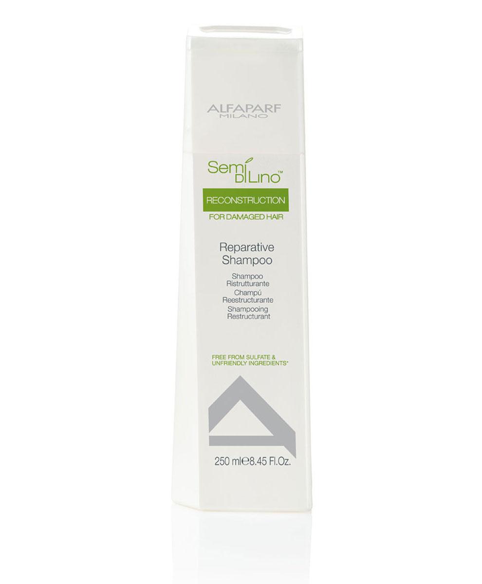 Alfaparf Шампунь для поврежденных волос Semi Di Lino Reconstruction Reparative Shampoo 250 мл10013Alfaparf Semi Di Lino Reconstruction Reparative Shampoo Шампуньдля повреждённых волос разработан специально для повреждённых, ломких и слабых волос. Данное средство обеспечивает волосам тройной эффект способствует быстрому восстановлению повреждённых волос, усиливает их блеск, защищает естественный цвет волос. В состав шампуня Альфапарф SDL Reconstruction Reparative входит экстракт семени льна, который делает волосы блестящими, мягкими и гладкими, обеспечивая их лёгкое расчёсывание, а также экстракт бамбука, который позволяет реанимировать и увеличить гибкость волосяного стрежня. Шампунь Alfaparf SDL для повреждённых волос наделяет волосы здоровьем и блеском, сохраняя их естественный цвет. Подходит для типов волос: повреждённых, ломких, слабых.