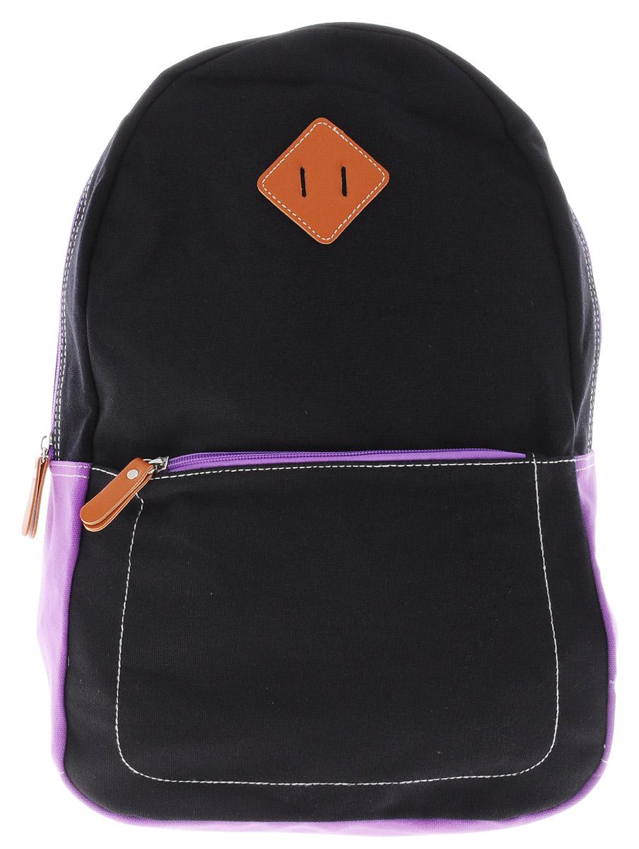 Centrum Рюкзак детский цвет черный фиолетовый72523WDСтильный рюкзак Centrum предназначен специально для подростков. Рюкзак содержит одно вместительное отделение, закрывающееся на застежку-молнию. Внутри отделения имеется дополнительный открытый накладной карман. На лицевой стороне расположен накладной карман на застежке-молнии. Рюкзак оснащен широкими мягкими лямками, регулирующимися по длине, и петлей для подвешивания на вешалке. Рюкзак будет отличным помощником для вашего ребенка в его походах за знаниями.