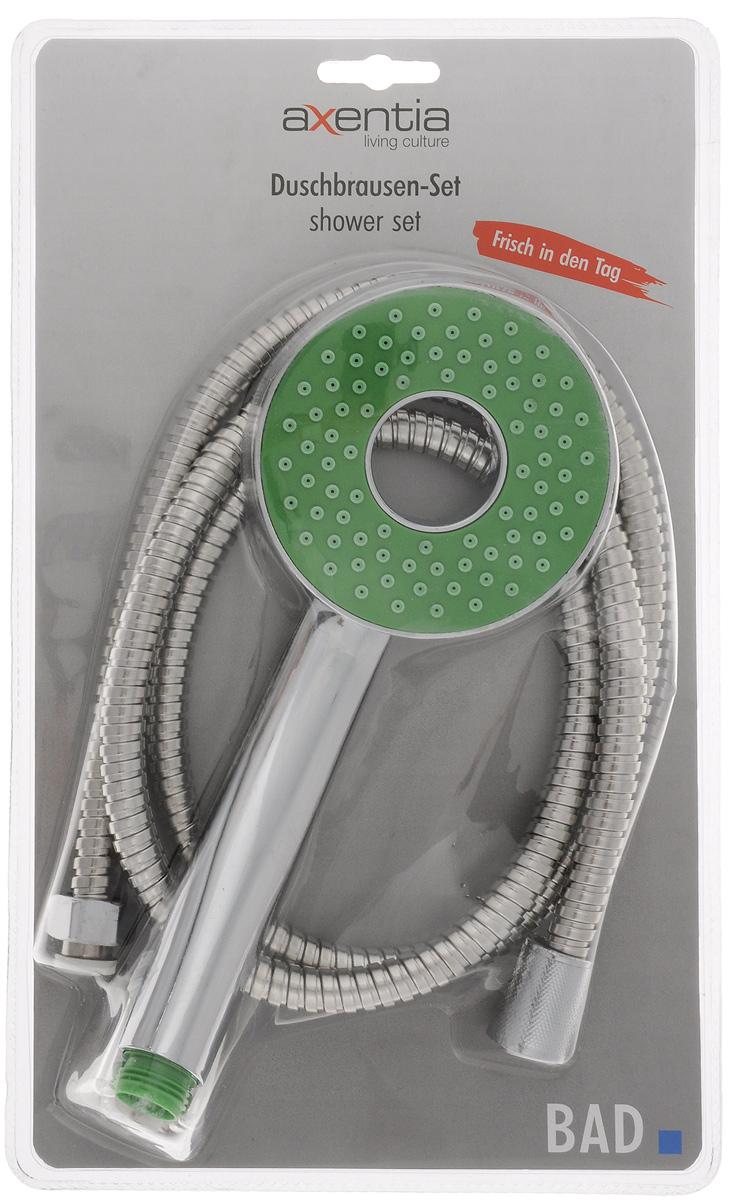 Набор для душа Axentia, 3 предмета282812Набор для душа Axentia состоит из душа-лейки, шланга из нержавеющей стали и держателя душа для крепления к стене. Душевая лейка изготовлена из высокопрочного ABS пластика, покрытого никель-хромом для придания зеркального блеска. Шланг имеет оплетку из нержавеющей стали. Стеновое крепление с саморезами и пластиковыми дюбелями. Такой набор украсит ванную комнату и будет служить вам долгое время. Длина шланга: 1,5 м. Диаметр лейки: 9,5 см. Диаметр шланга: 13 мм.