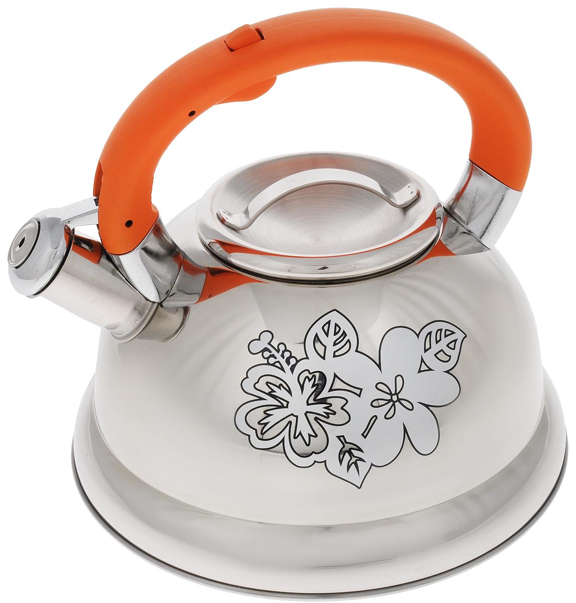 Чайник Mayer & Boch, со свистком, 2,6 л. 2278922789Чайник Mayer & Boch выполнен из высококачественной нержавеющей стали. Носик чайника оснащен насадкой-свистком, что позволит вам контролировать процесс подогрева или кипячения воды. Ручка из бакелита делает использование чайника очень удобным и безопасным. Эстетичный и функциональный чайник будет оригинально смотреться в любом интерьере. . Подходит для газовых, электрических, стеклокерамических и индукционных плит. Можно мыть в посудомоечной машине. Диаметр чайника (по верхнему краю): 10 см. Диаметр основания: 22 см. Высота чайника (без учета ручки): 11,5 см. Высота чайника (с учетом ручки): 20,5 см.