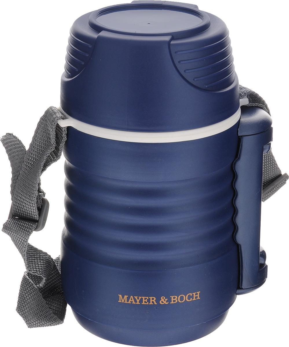 Термос пищевой Mayer & Boch, цвет: синий, белый, 700 мл23730Пищевой термос Mayer & Boch предназначен для хранения и переноски горячих и холодных продуктов. Корпус выполнен из высококачественного цветного пищевого пластика. Внутренняя колба изготовлена из нержавеющей стали. Наполнение из жесткого пенопласта сохраняет температуру и свежесть пищи на протяжении 4-5 часов. Пища сохраняет аромат, вкус и питательные вещества. В широкое горлышко термоса помещены два контейнера с крышками, изготовленные из пищевого пластика белого цвета. Крышки легко открываются и плотно закрывается с помощью легкого щелчка. Для удобства переноски на корпусе предусмотрены складная ручка и ремень. Термос Mayer & Boch - это идеальный вариант для переноски нескольких разных блюд. В него поместится все необходимое, и вы в любое время сможете вкусно и быстро пообедать. Объем: 700 мл. Размер термоса: 11 х 11 х 20 см. Диаметр контейнеров: 8 см. Высота стенки маленького контейнера: 4,5 см. Высота стенки большого контейнера: 8,5...