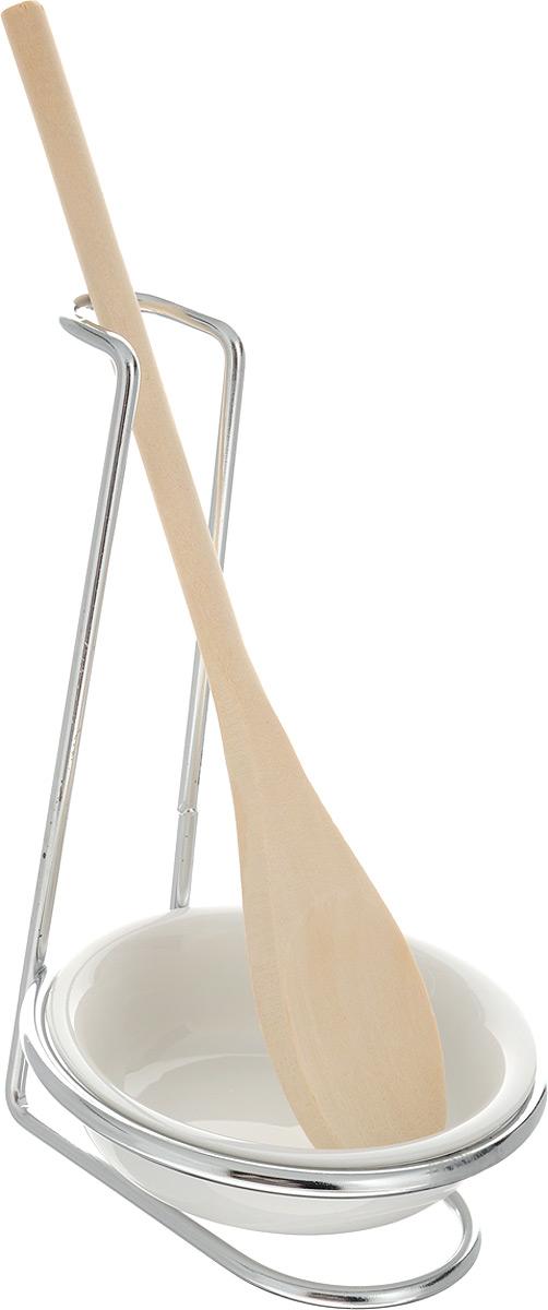 Подставка для ложки Mayer & Boch, с тарелкой, высота 17 см20072Подставка для ложки Mayer & Boch изготовлена из металлической проволоки. К ней прилагаются керамическая тарелка и деревянная ложка. Подставка предназначена для поддержания чистоты на кухонном столе при приготовлении пищи. Поставьте ее рядом с плитой, и ставьте на подставку ложку, половник или лопатку, которыми вы помешиваете блюда. Размер подставки: 11 х 11 х 17 см. Диаметр тарелки (по верхнему краю): 10,2 см. Длина ложки: 25,3 см.