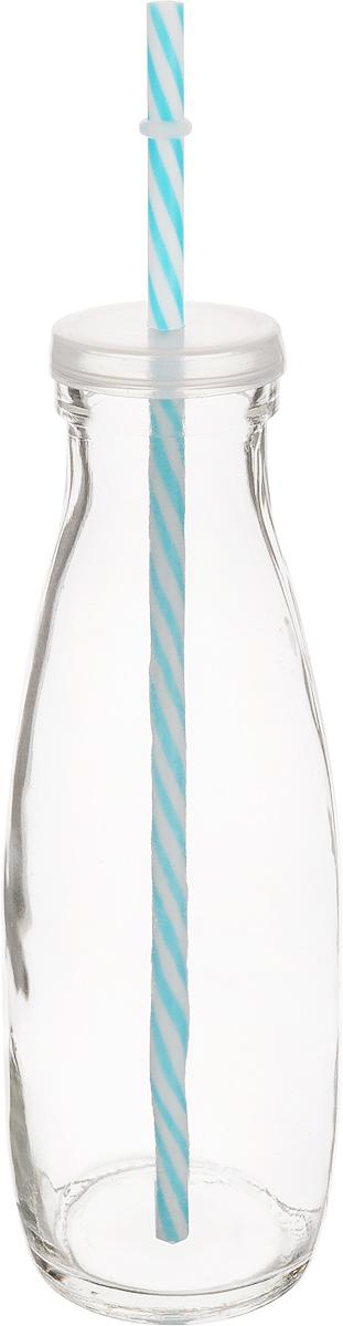 Емкость для напитков Zeller, с трубочкой, цвет: прозрачный, голубой, 475 млVT-1520(SR)Емкость Zeller, выполненная из высококачественного стекла ввиде бутылки, снабжена трубочкой и пластиковой крышкой сотверстием для трубочки. Изделие предназначено для сока,воды и других напитков. Емкость очень удобна виспользовании. Она пригодится как дома, так и на даче.Диаметр по верхнему краю: 4,5 см. Высота емкости: 21 см. Длина трубочки: 26 см.