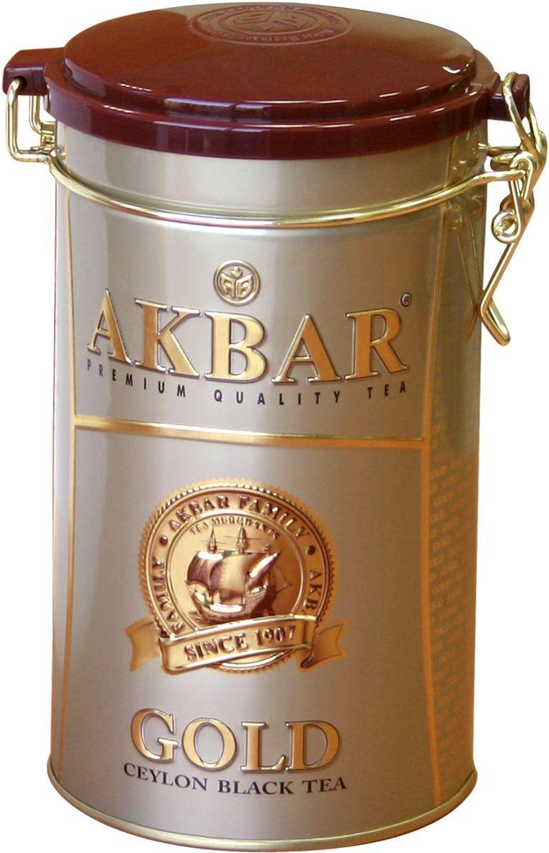 Akbar Gold черный листовой чай, 225 г0120710Akbar Gold - среднелистовой черный чай класса Premium, для производства которого используются только что распустившиеся листочки чайного куста, собранные на лучших горных плантациях на высоте 2000 футов над уровнем моря. Их идеальное расположение к солнцу и горный воздух, пропитанный ароматами экзотических растений, придают чаю стойкий аромат и отличающийся особой яркостью и насыщенностью цвет.Чай Akbar Gold в элегантных жестяных банках - великолепный подарок к любому празднику.
