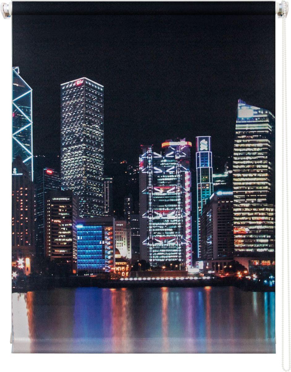 Штора рулонная Уют Сити ночь, цвет: белый, черный, серый, 120 х 175 см62.РШТО.8943.120х175• Защита от посторонних взглядов. • Фиксация в любом положении. • Крепеж: Универсальный (к потолку, к раме, к стене).