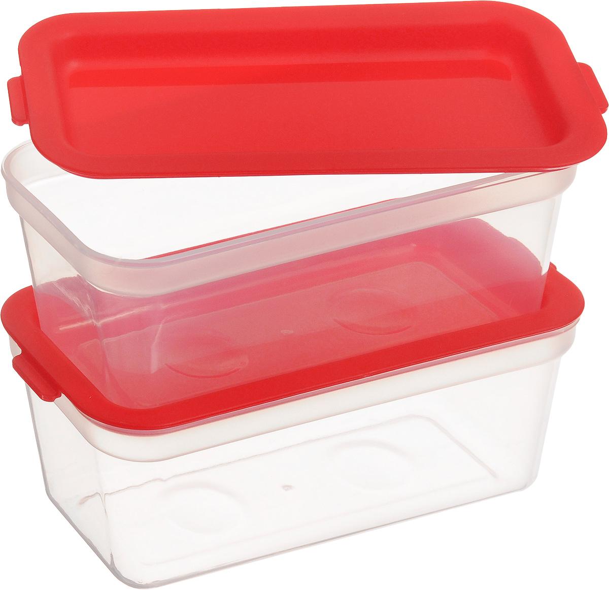 Набор контейнеров для заморозки Tescoma Purity, цвет: красный, прозрачный, 300 мл, 2 шт891876Набор Tescoma Purity, выполненный из высококачественного пищевого прозрачного пластика, состоит из двух контейнеров. Изделия предназначены для хранения и транспортировки пищи. Крышки легко открываются и плотно закрываются с помощью легкого щелчка. Контейнеры удобно складываются друг в друга, что экономит пространство при хранении в шкафу. Подходят для заморозки и для использования в микроволновой печи без крышки. Можно мыть в посудомоечной машине. Объем контейнера: 300 мл. Размеры: 13,5 х 6,5 х 6 см.