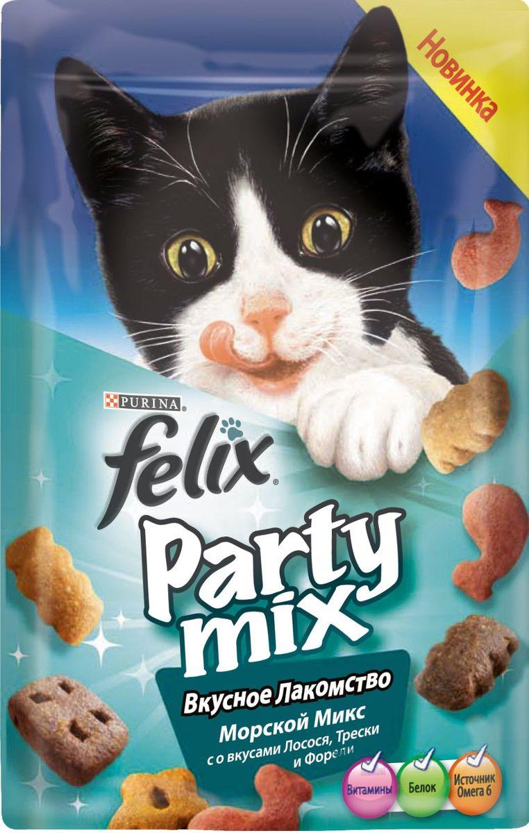 Лакомство для кошек Felix Party Mix Морской Микс, cо вкусами лосося, трески и форели, 60 г12234058Вкусное лакомство Felix Party Mix Морской Микс cо вкусами лосося, трески и форели - это дополнение к ежедневному рациону, с помощью которого вы можете баловать вашего питомца, когда вам этого хочется. В каждой упаковке вы найдете удивительное сочетание ароматных гранул с восхитительным вкусом и аппетитной текстурой! И это еще не все! Вкусное Лакомство содержит белок, витамины и Омега 6 жирные кислоты для того, чтобы помочь Вашему питомцу быть счастливым и здоровым. Рекомендации по кормлению: Ежедневная норма кормления для взрослой кошки весом 4 кг: до 15г или примерно до 40 гранул. Обычный ежедневный рацион желательно корректировать в соответствии с количеством используемого лакомства. Свежая питьевая вода всегда должна быть доступна для вашей кошки. Присутствуйте рядом с вашим питомцем во время кормления Вкусным Лакомством. Состав: мясо и продукты его переработки, злаки, жиры и масла, растительный белок, рыба и продукты ее ...
