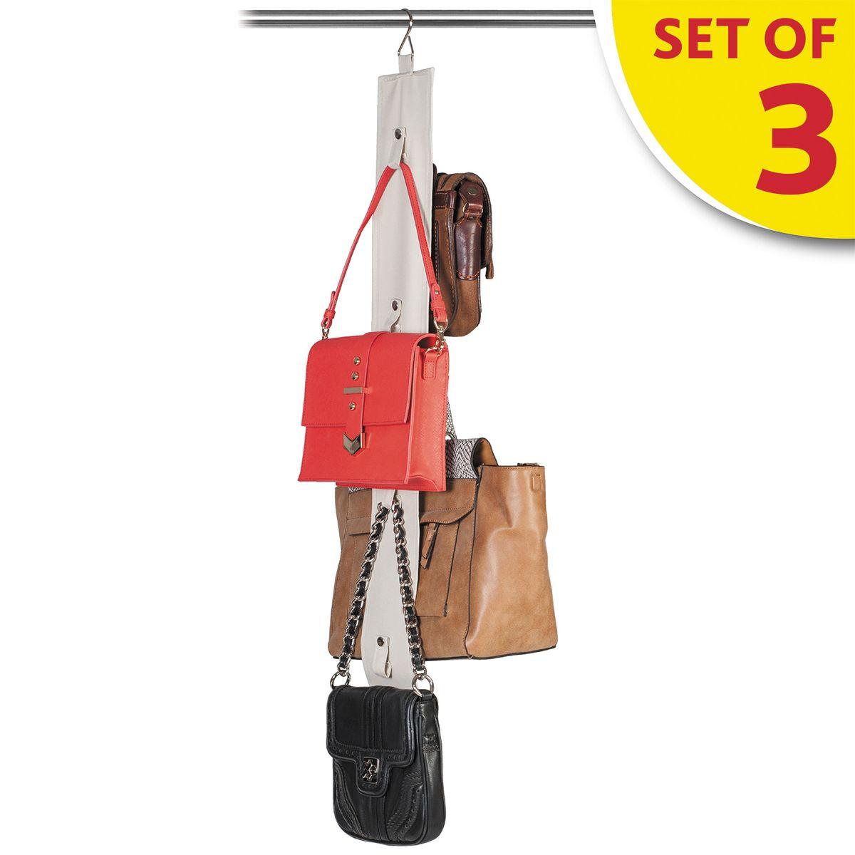 Набор органайзеров для хранения сумок в шкафу Tatkraft Roo, 3 шт16132Tatkraft ROO Набор из трех органайзеров для хранения сумок в шкафу. Двусторонняя лента с вешалкой и 8 ремнями-петлями на кнопках для хранения сумок, кепок, бижутерии. Компактное хранение, экономит место. Размер:10?87 см.