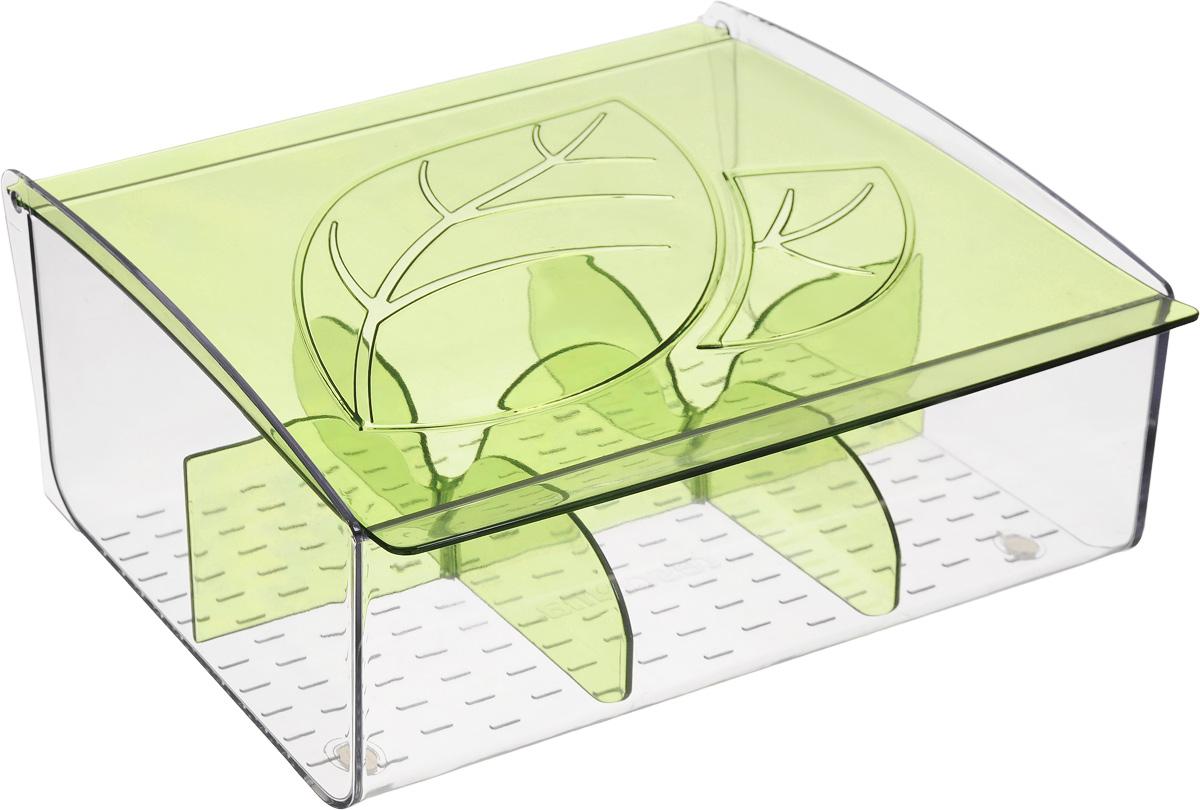 Коробка для чайных пакетиков Tescoma Mydrink, цвет: зеленый, прозрачный, 21,8 х 16,5 х 9,3 см308888Коробка для чайных пакетиков Tescoma Mydrink изготовлена из прочного пластика. Изделие имеет 6 отделений для организованного хранения до 60 чайных пакетиков. Благодаря профилированному дну пакетики не скользят и не падают. Перегородки съемные, для более удобного мытья. Размер секции: 7 х 6,5 х 8 см.