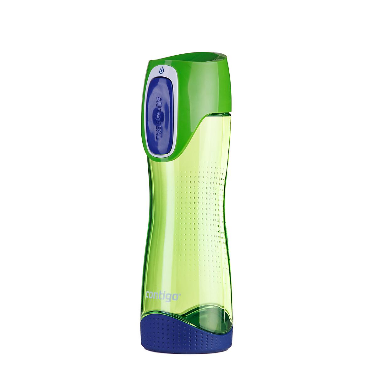 Бутылка для воды Contigo Swish, цвет: зеленый, синий, 550 млVT-1520(SR)Бутылка для воды Contigo Swish - это замечательный сюрприз как для родных и друзей, так и для себя.Практичная и комфортная форма, а также удобный размер позволит вам всегда носить ее с собой. Кроме того, для того, чтобы попить из бутылки вам достаточно просто нажать на кнопку, а при отпускании ее крышка автоматически закроется, исключая вытекание воды. Такая система обеспечивает полную защиту вашей воды от попадания вредных и ненужных микроорганизмов.