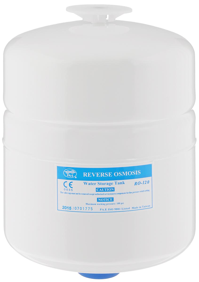 Бак накопительный Гейзер RO-2 гал., цвет: белый, 7,6 л25314Накопительный бак используется в фильтрах обратного осмоса для создания резерва отфильтрованной чистой воды. Это необходимо, так как производительности системы в моменты пикового потребления может не хватать. Гидроаккумулятор из высококачественного металла для обратноосматических систем Гейзер Престиж и фильтра Гейзер Нанотек. Общий объем 8 литров. Полезный объем 4 литра.