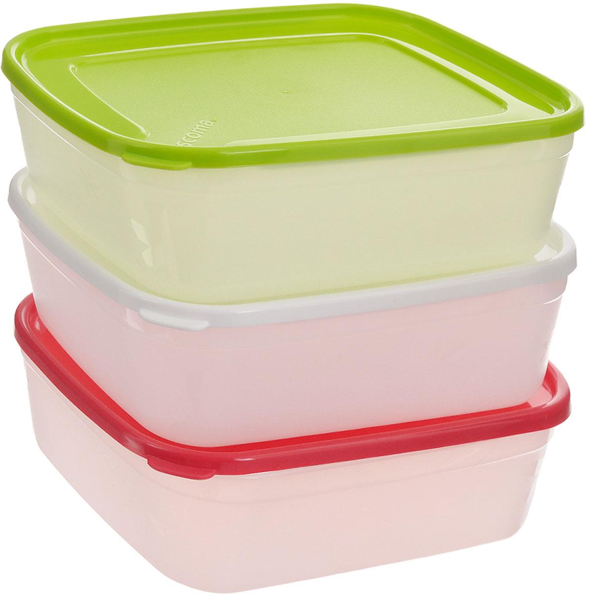 Набор контейнеров для заморозки Tescoma Purity, 1 л, 3 штVT-1520(SR)Набор Tescoma Purity, выполненный из высококачественного пищевого пластика, состоит из трех контейнеров с плотно закрывающимися цветными крышками. Изделия отлично подходят для хранения продуктов в морозильной камере или холодильнике. Контейнеры удобно складываются друг в друга, что экономит пространство при хранении в шкафу.Пригодны для морозильников, холодильников, микроволновых печей. При использовании в микроволновой печи всегда оставляйте крышку приоткрытой. Можно мыть в посудомоечной машине. Объем контейнера: 1 л.Размер контейнера (без учета крышки): 17 х 13 х 6,7 см.