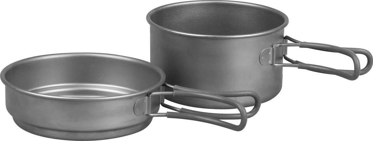 Набор посуды Сплав, титановый, 2 предмета5116225Набор посуды Сплав отлично подойдет для приготовления пищи в походе на 1-2 человек. Набор компактно складывается и не занимает много места. Благодаря подвижным отделанным силиконом ручкам, кастрюльками удобно пользоваться во время готовки. Размеры емкостей подобраны таким образом, что сковородка может служить крышкой для кастрюли. Таким образом, пока вы кипятите воду, одновременно можно подогреть, например, оставшуюся после ужина еду. Посуда обладает антикоррозийным свойством. Изделия быстро и легко моются. Состав набора: Сковорода: объем: 800 мл, размер: 180 х 40 мм. Кастрюля: объем: 1250 мл, размер: 170 х 70 мм. Общий вес: 273 г.