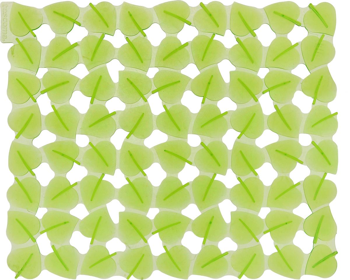 Коврик для раковины Tescoma Листочки, цвет: светло-зеленый, 32 x 28 см900637Стильный и удобный коврик для раковины Tescoma Листочки изготовлен из эластичного пластика. Он одновременно выполняет несколько функций: украшает, защищает мойку от царапин и сколов, смягчает удары при падении посуды в мойку. Коврик также можно использовать для сушки посуды, фруктов и овощей. Он легко очищается от грязи и жира. Можно мыть в посудомоечной машине.