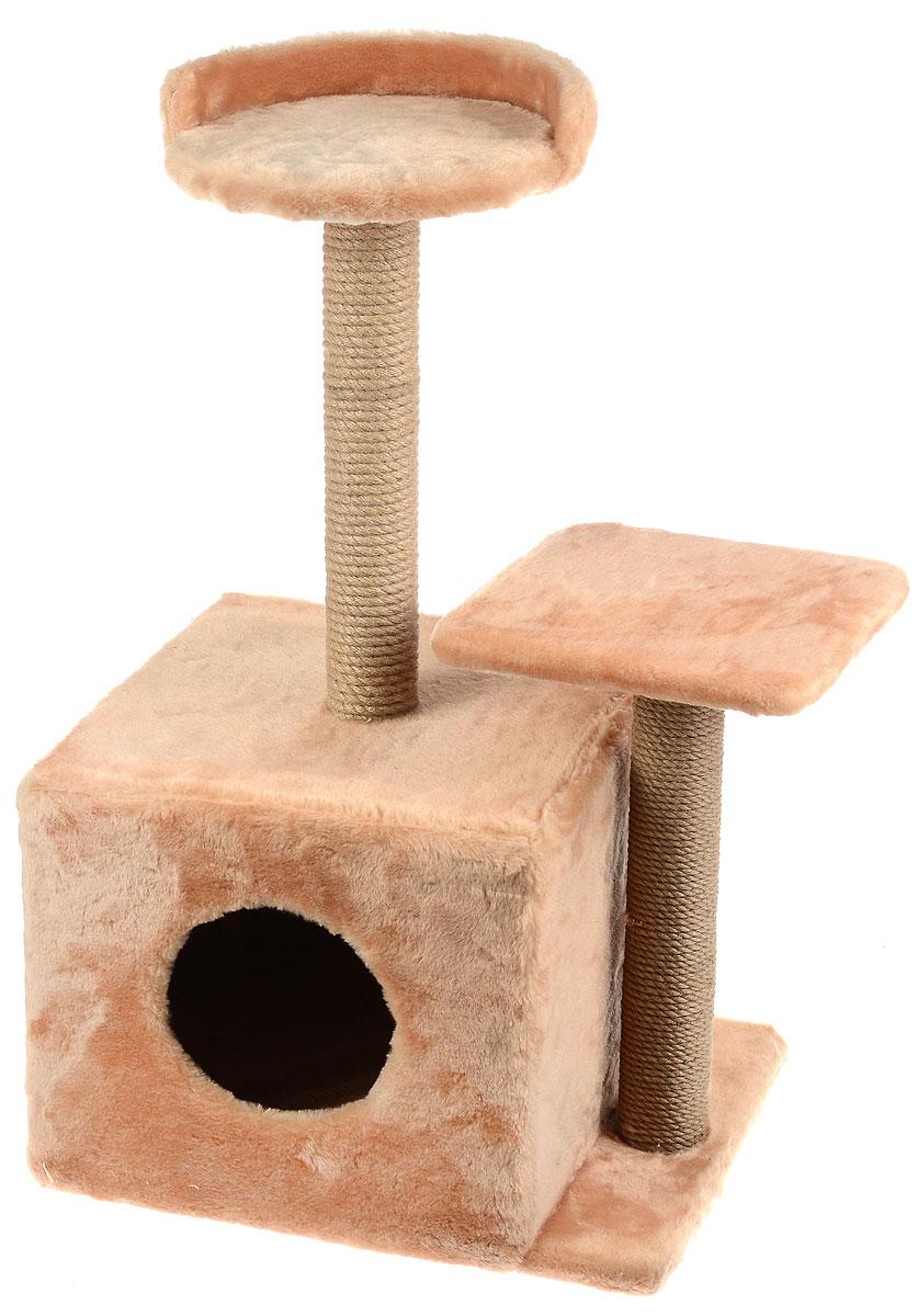Игровой комплекс для кошек Меридиан, с домиком и когтеточкой, цвет: светло-коричневый, бежевый, 35 х 45 х 75 смД130 СКИгровой комплекс для кошек Меридиан выполнен из высококачественного ДВП и ДСП и обтянут искусственным мехом. Изделие предназначено для кошек. Ваш домашний питомец будет с удовольствием точить когти о специальные столбики, изготовленные из джута. А отдохнуть он сможет либо на полках разной высоты, либо в расположенном внизу домике. Общий размер: 35 х 45 х 75 см. Размер домика: 46 х 37 х 33 см. Высота полок (от пола): 74 см, 45 см. Размер полок: 27 х 27 см, 26 х 26 см. Уважаемые клиенты! Обращаем ваше внимание на расположение домика и когтеточки, они могут располагаться как слева, так и справа. Поставка возможна в зависимости от наличия на складе.