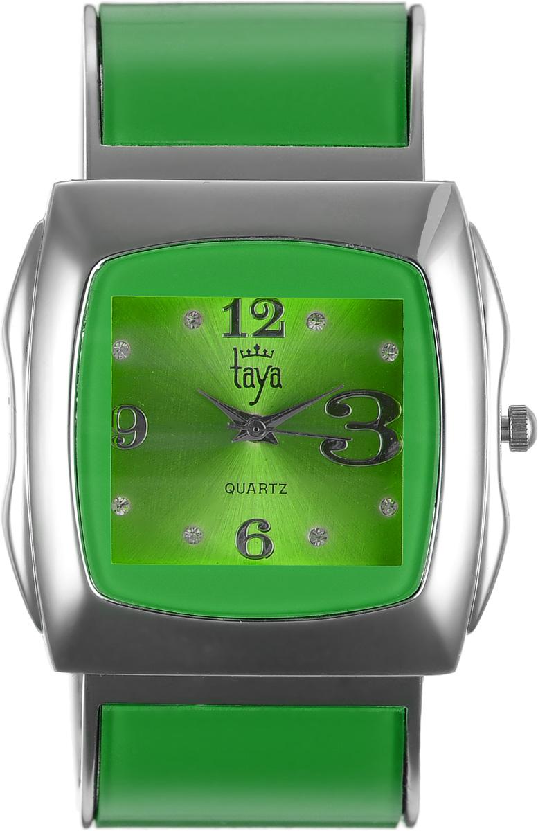 Часы наручные женские Taya, цвет: серебряный, зеленый. T-W-0438INT-06501Элегантные женские часы Taya выполнены из металлического сплава, минерального стекла и нержавеющей стали. Циферблат часов инкрустирован стразами и оформлен символикой бренда.Корпус часов оснащен кварцевым механизмом со сменным элементом питания и дополнен раздвижным браслетом с пружинным механизмом, который позволяет надеть часы на любую руку.Часы поставляются в фирменной упаковке.Часы Taya подчеркнут изящность женской руки и отменное чувство стиля у их обладательницы.