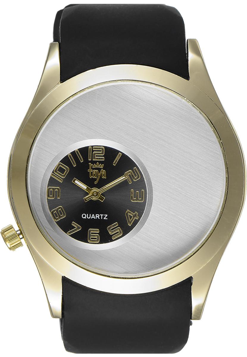 Часы наручные женские Taya, цвет: золотой, черный. T-W-0233T-W-0233-WATCH-GL.BLACKЭлегантные женские часы Taya выполнены из минерального стекла, силикона и нержавеющей стали. Уменьшенный циферблат часов оформлен символикой бренда. Корпус часов оснащен кварцевым механизмом со сменным элементом питания и дополнен силиконовым ремешком с внутренним тиснением, благодаря которому часы плотно прилегают к запястью. Ремешок застегивается на практичную пряжку. Часы поставляются в фирменной упаковке. Часы Taya подчеркнут изящность женской руки и отменное чувство стиля у их обладательницы.