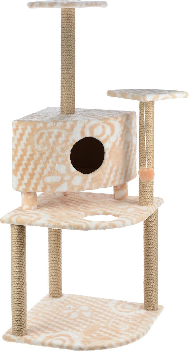 Игровой комплекс для кошек Меридиан, с домиком и когтеточкой, цвет: белый, бежевый, 55 х 55 х 140 смД441 ЦвИгровой комплекс для кошек Меридиан выполнен из высококачественного ДВП и ДСП и обтянут искусственным мехом. Изделие предназначено для кошек. Комплекс имеет 3 яруса. Ваш домашний питомец будет с удовольствием точить когти о специальные столбики, изготовленные из джута. А отдохнуть он сможет либо на полках, либо в домике. На одной из полок расположена игрушка, которая еще сильнее привлечет внимание питомца. Общий размер: 55 х 55 х 140 см. Размер домика: 42 х 42 х 31 см. Размер полок: 26 х 26 см. Размер нижнего яруса: 55 х 55 см.